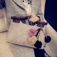 Gray Women Fashion Handbag Shoulder Bag Tote Purse Faux Leather Women Retro Messenger Gift