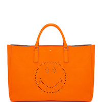 Ebury Maxi Smile Tote Bag, Neon Orange - Anya Hindmarch