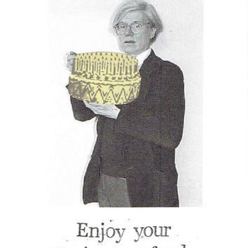 15 Minutes Of Cake Andy Warhol Birthday Card | Funny Weird Postmodern Art Humor Design Indie Artist Men Women