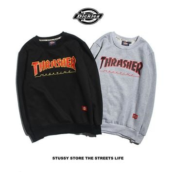 HCXX 19Aug 362 Dickies THRASHER Printed loose version with velvet pullover sweater