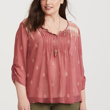 Dusty Pink Border Print Chiffon Blouse