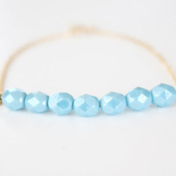 Blue Beaded Bracelet Gold Bella Blue by junghwa on Etsy