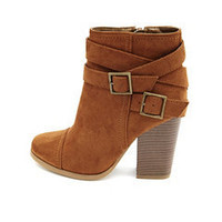 Sueded Chunky Heel Bootie: Charlotte Russe