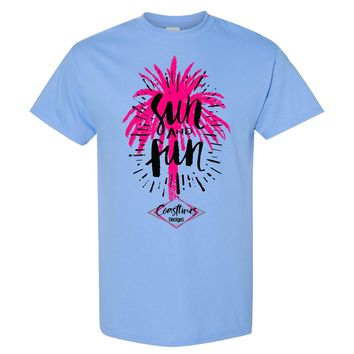 Coastlines Designs Sun And Fun on a Sky Blue T Shirt