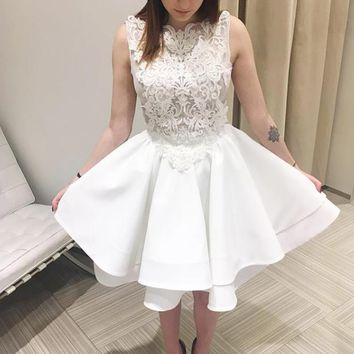 White Lace Applique Stain Tiered Homecoming Dresses