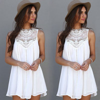 Summer Dress 2016 Sexy Women Casual Sleeveless Beach Short Dress Tassel Solid White Mini Lace Dress Vestidos Plus Size