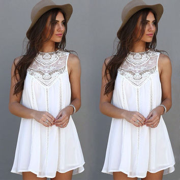 2016 Summer Women Lace Sleeveless Long Tops Blouse Shirt Ladies Beach BOHO Short Mini Dress Plus Size
