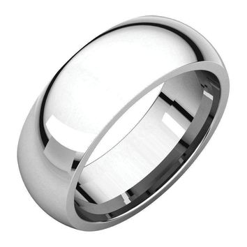 14k White Gold Dome Comfort Fit Wedding Band