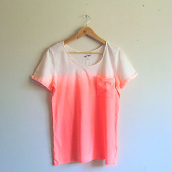 Tie Dye Ombre Neon Orange T-Shirt  Beachwear Hand Painted Pocket Blouse Shibori Art Festival Top Dip Dye Yoga Workout Fitness Running Top