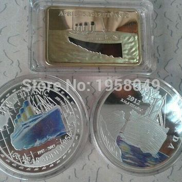 Sample order Mix3/lot Titanic series of Fine Silver/Gold Clad Royal Mail Steamship Titanic Coin/Bullion Bar