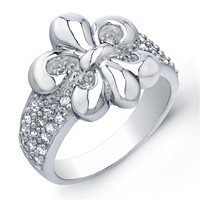 Sterling Silver Rhodium Plated and Cubic Zirconia Fleur De Lis Ring: Rings