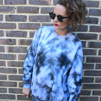 Tie dye galaxy midnight oversized sweatshirt jumper top