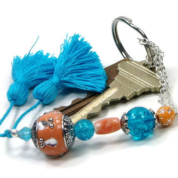 Beaded Scissor Fob Orange Aqua Blue Quilting Sewing Cross Stitch Gift for Crafter DIY Crafts Needlepoint