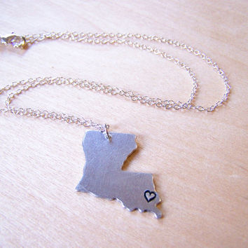 Hand Stamped Heart Louisiana State Sterling Silver Necklace / Gift for Her