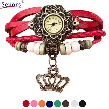 relogio masculino Women Watches Quartz Weave Around Leather Crown Bracelet Lady Woman Wrist Watch Clock new design Dec06