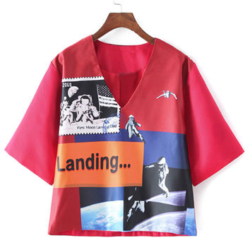 Red V-neck Spaceman Print Short Sleeve Blouse