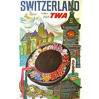 fly TWA SWITZERLAND vintage travel poster HAT CLOCKTOWER collectors 24X36