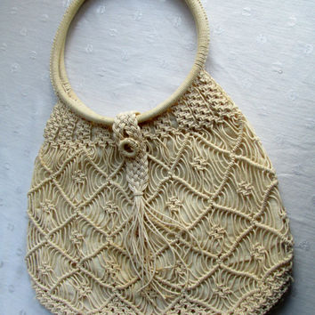 Vintage Macrame Boho Bag Large Woven Ladies Purse Creme Round Handles