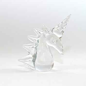 Vintage Crystal Unicorn Head - Glass Figurine - Hand Sculpted - Unicorn Bust - Napcoware