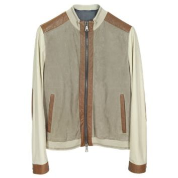 Forzieri Designer Leather Jackets Beige Perforated Suede & Brown Leather Men's Jacket