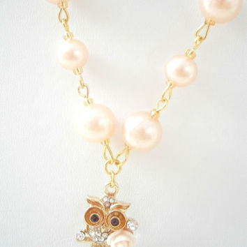 Pink Owl Necklace - Rhinestone Jewelry - Faux pearl Necklaces - Pastel Jewellery - Bird Necklace - Cute Gift Idea - Teen Girl Necklaces