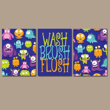 MONSTER Bathroom, Monsters Wall Art, Kid Bathroom, Wash Brush Flush, Alien Theme, Shared Child Bathroom Decor, Brother Sister, Set of 3