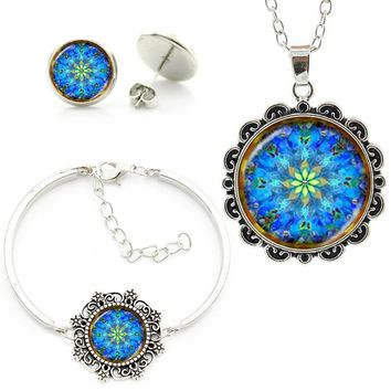 Vintage blue mandala Buddhist OM symbol glass cabochon earrings bracelet necklace sets women gifts wedding jewelry set