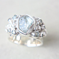 Rough Aquamarine & Sky Blue Topaz Ring Sterling Silver Engagement Ring Wedding Ring Silversmithed Metalsmithed