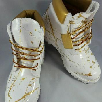 "Custom White and Gold ""Cocaine"" Timberland Boots- Hand Painted Timberlands- Custom Tim"