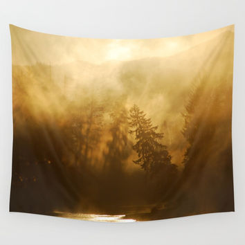 Foggy Forest with Tree Shadows Wall Tapestry by BravuraMedia