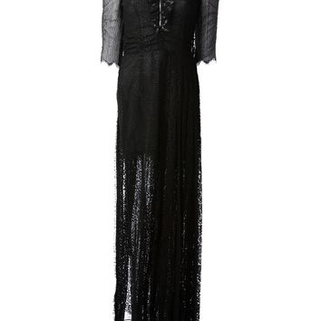 Alessandra Rich Netted Silver Shimmer Long Dress