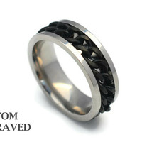 Engraved Stainless Steel Ring - Engraved Black Chain Ring - Personalized Ring - Custom Black Chain Ring - Gift for Him - Custom SS Jewelry