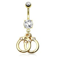 (1pc Gold) Prong Set w/ Dangling Gemed Hand Cuffs with Gems 14kt Gold Plated Dangle Navel Ring