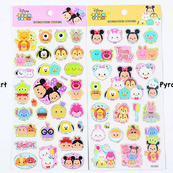 Tsum Tsum stickers, Winnie the Pooh, Mickey Mouse, Piglet stickers, Tigger stickers, Disney stickers, Cartoon stickers