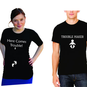 "Expecting Mom & Dad shirts set. Funny ""Here Comes Trouble"" and ""Trouble Maker"" Shirts- Pregnancy clothes- Men's shirt-Black"