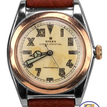 Vintage 1944 Rolex Oyster Perpetual Bubbleback California Two Tone 3133 Watch