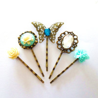Something Blue Cameo Rose and Rhinestone Butterfly Vintage style Bobby Pin Set bronze hairpins bridesmaid accessories clips slides cream