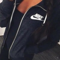 "winter ""NIKE""Autumn Leisure Women Hooded Sweatshirt Sweater Jacket"