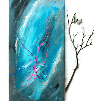 Blue Abstract Painting, Original Modern Art on Gallery Canvas 15x30