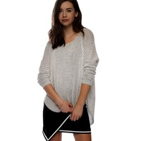 Sale-white Squared Lightweight Sweater