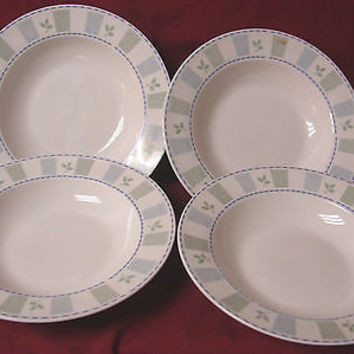 Oneida Stoneware, China Dinnerware,  katrin Set 4 Rim soup bowl