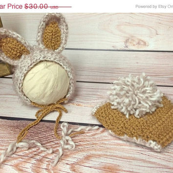 SALE Baby Bunny Hat, Bunny Diaper Cover, Photography Prop, Bunny Hat, Easter, Photo Prop, Easter Bunny, Bunny Bonnet, Easter Bonnet, Easter