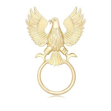 TUSHUO Goldplated Expand The Wings of The Eagle Design Strong Magnetic Eyeglass Holder Brooch Pin