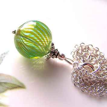 Glass Pendant, Blown Glass Green Bead Pendant Necklace, Silver-Plated Chain, Delicate, Summer