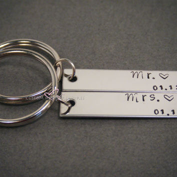 Mr Mrs Key Chain, Wedding Gift, Bride Groom Gift, Anniversary Gift, Personalized Gift, Date Keychain, Wedding Date,Stainless Steel Rectangle