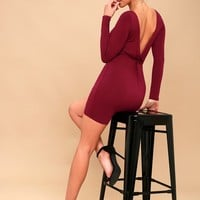 Twist and Tell Wine Red Backless Bodycon Dress