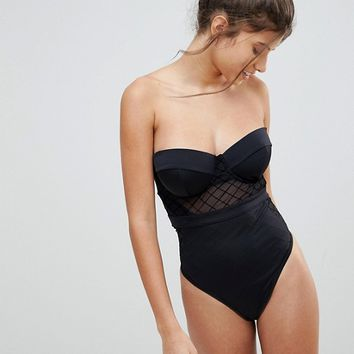 ASOS FULLER BUST Diamond Mesh Cupped Swimsuit at asos.com