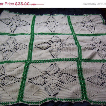 ON SALE Hand Crocheted Afghan White and Green Lacy Flower Granny Square Afghan