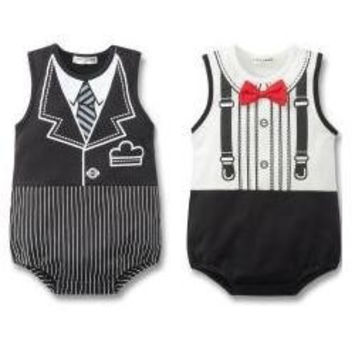 2016 Tuxedo Baby Bodysuit Sleeveless Baby one-pieces Newborn body bebe baby boy clothes body bebes jumpsuit