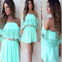 Women's Fashion Summer Lace Loudspeaker Ladies One Piece Dress [6338878529]